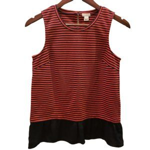 J. Crew Red/Navy Striped Sleeveless Top XS